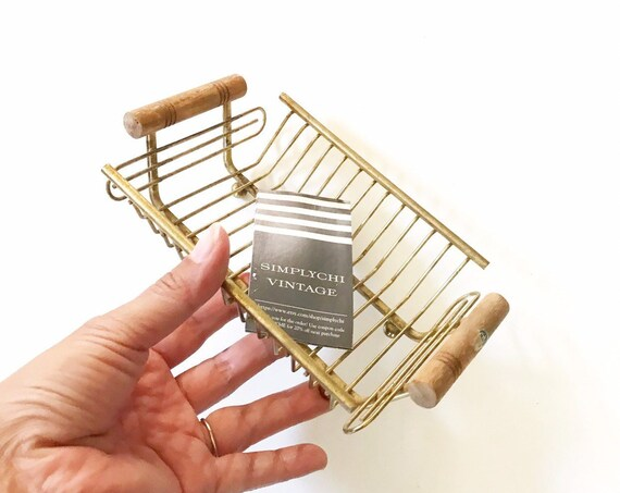 mid century modern gold metal wire note holder tray | small office organizer