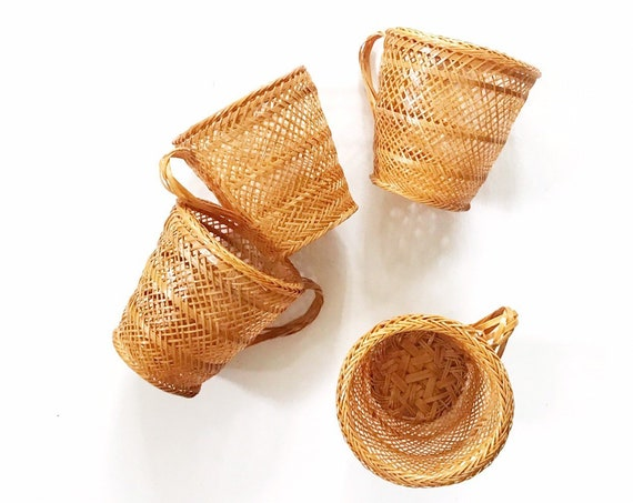woven wicker rattan drinking cup insert holder set of 4 | gift barware