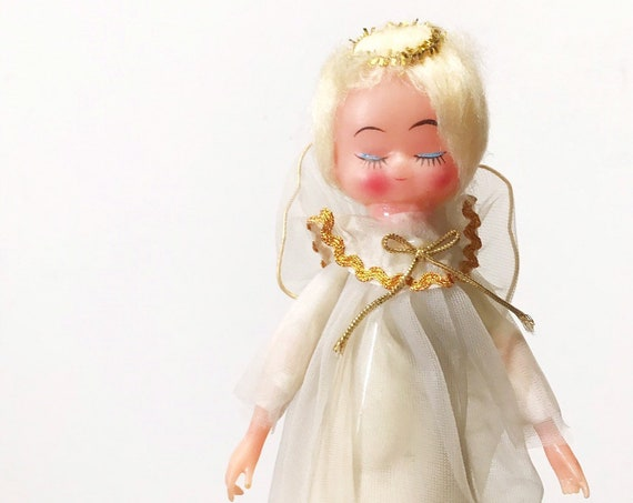 1950s vintage christmas blonde angel doll tree topper figurine | ornament
