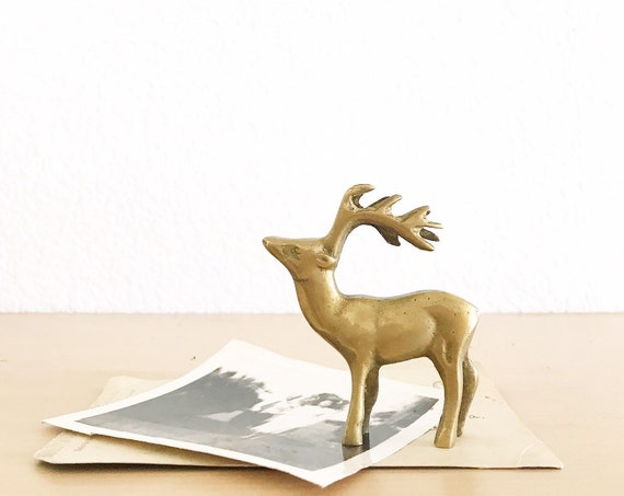 small mid century solid brass deer buck figurine | antler sculpture