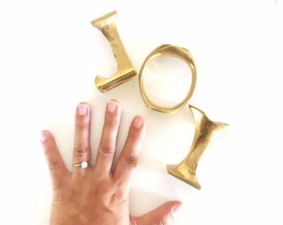 solid brass christmas joy candlestick holders / hollywood regency / set of 3 monogram letters j o y