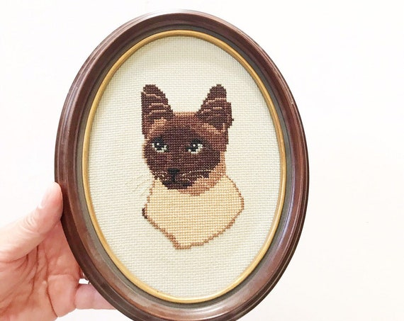 framed embroidered oval siamese cat wall hanging art | cross stitch | gift for cat lover