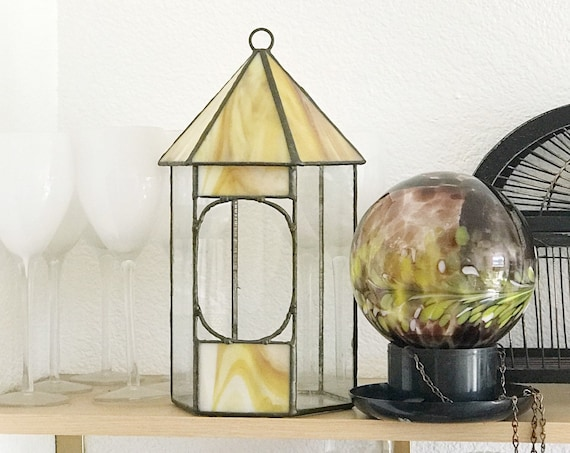 vintage hanging stained glass garden birdhouse | birdcage terrarium glass box