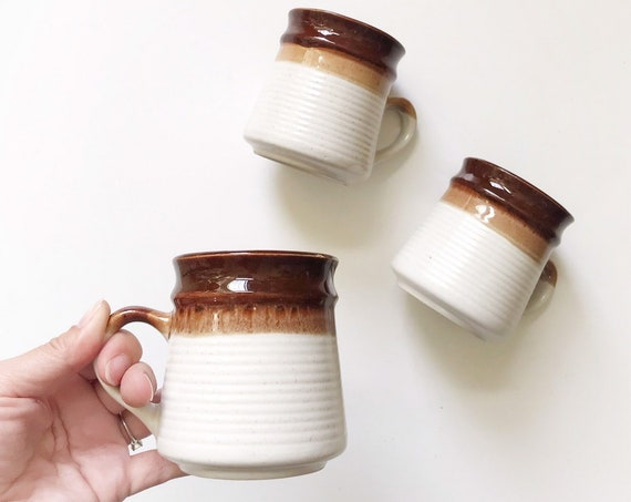 1970s retro striped white brown glaze coffee mugs | tumbler set of 3 | boho home kitchen decor