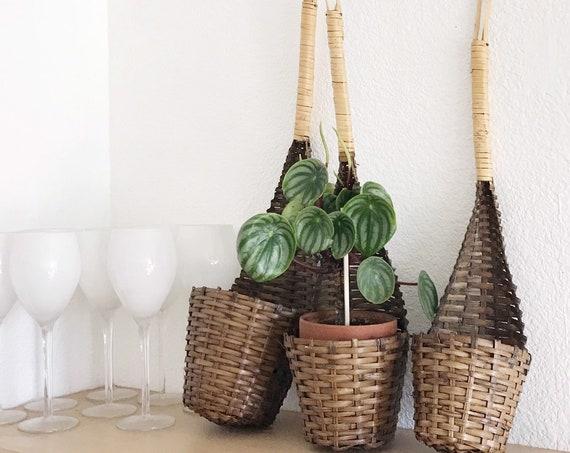 hanging nesting woven rattan bamboo ladle baskets   set of 3 flower pot planters