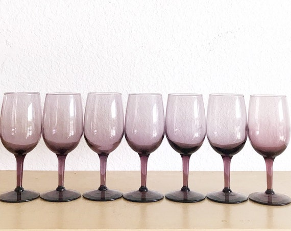 set of 7 libbey amethyst violet purple glass champagne wine stemware / smokey glass goblets