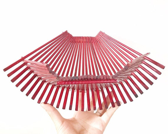 red burgandy wood mid century modern collapsible folding bamboo basket tray / fruit bowl / boho / organic