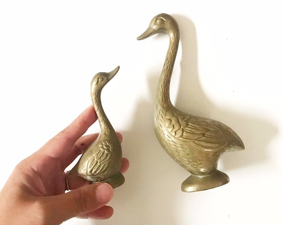 mid century modern pair of solid brass geese duck figurine | sculptures