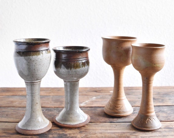 pair of speckled gray brown stoneware ceramic pottery goblets / stemware