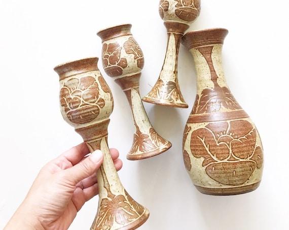 tall beige brown earthtone speckled stoneware pitcher goblet set / vessel