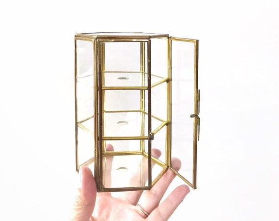 vintage tiered geometric glass brass display trinket jewelry box / gift box container
