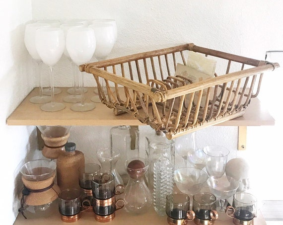 mid century woven bamboo rattan dish rack | kitchen storage holder