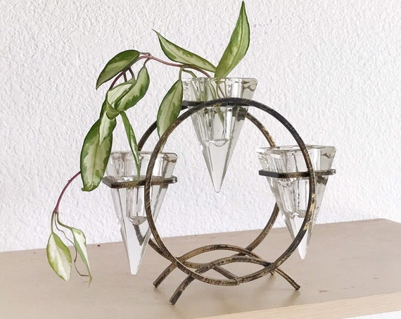 tiered triangular glass metal candlestick holders | candleholder bud propagation station vase