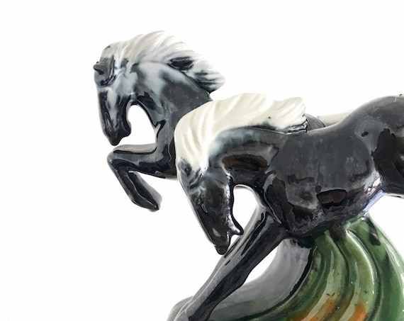 beautiful running ceramic mustang horse figurines | black bronco sculpture set