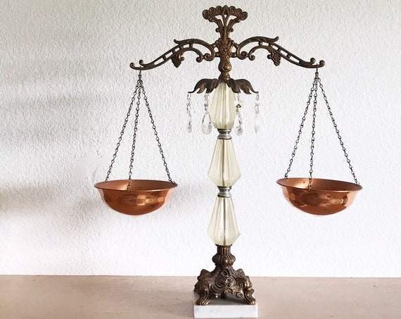 decorative victorian copper metal crystal glass measuring balance scale