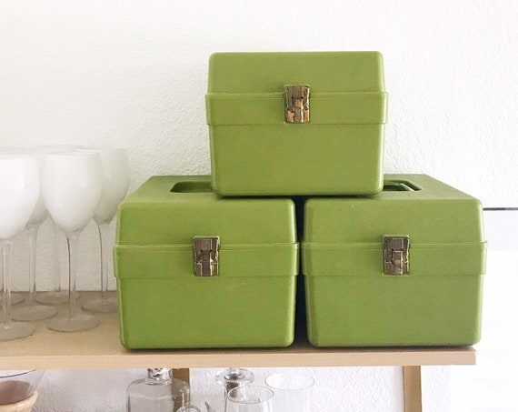 1970s retro olive green plastic sewing box | crafting supply tool box kit
