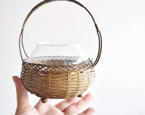 antique small woven metal glass bowl basket with handle / trinket dish