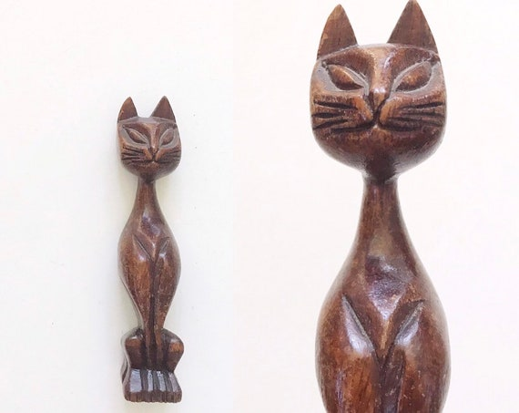 small carved solid wood mid century modern siamese cat sculpture figurine