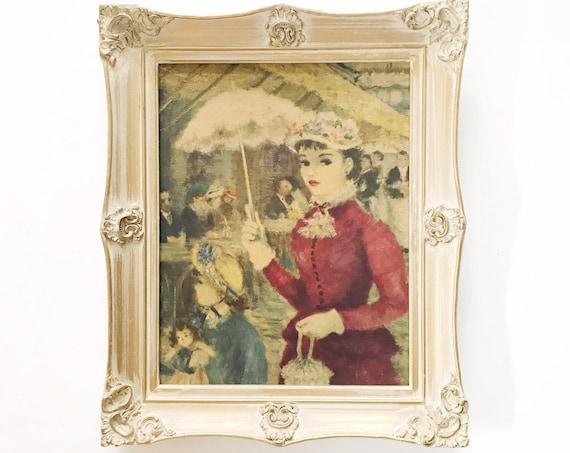 large framed huldah victorian french lady in paris print / flower strolling prints
