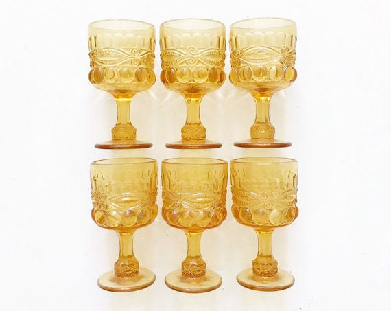 collection of 6 matching yellow amber glass dessert champagne wine goblets / thumbprint depression glass set