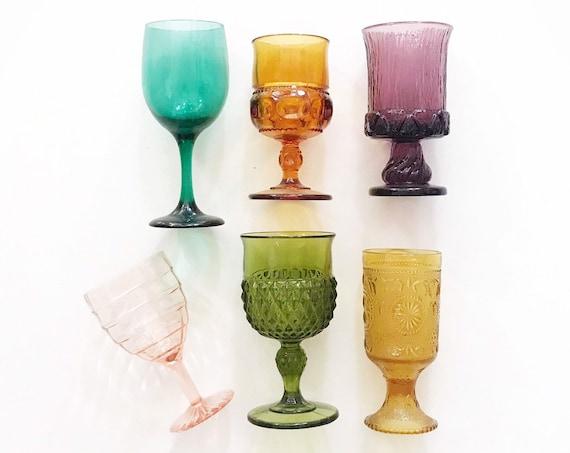 large mix collection of rainbow amber glass champagne wine glass goblets / depression glass set