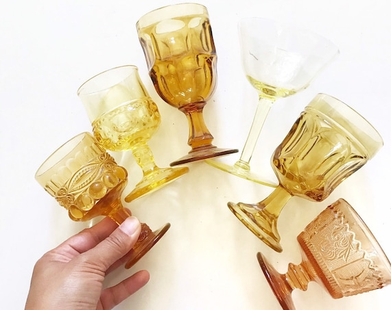 mix collection of 6 ornate yellow amber glass champagne wine glass goblets / depression glass set