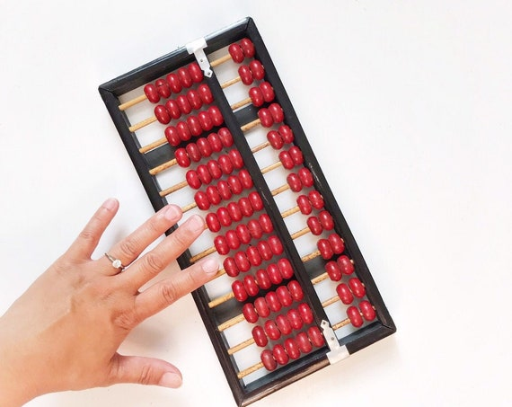 mid century vintage chinese wooden black red abacus counter / counting numbers