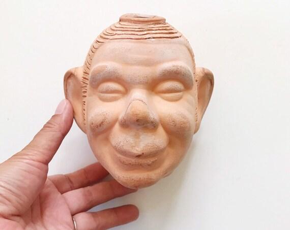 mid century smiling jim grass growing clay head / ceramic man head vase sculpture / bust / planter