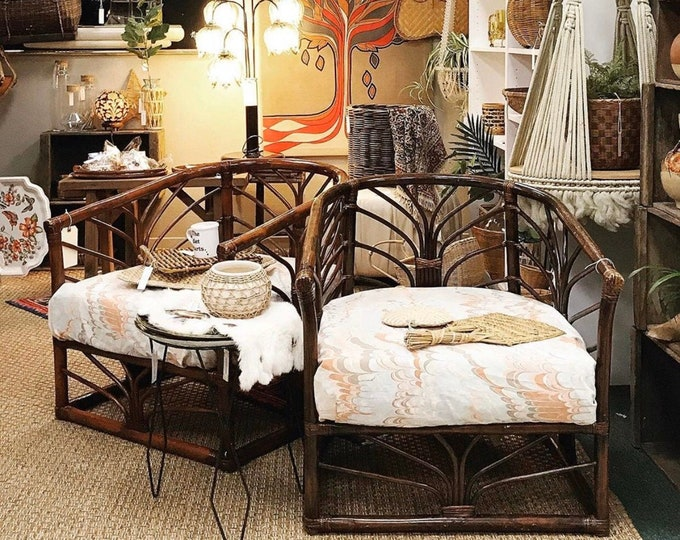 set of 2 mid century modern bamboo rattan chairs with cushions   patio furniture