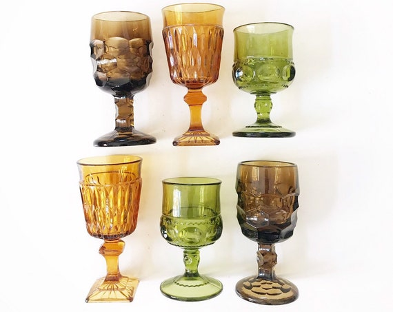 mix collection of 6 ornate amber green glass champagne wine glass goblets / depression glass set