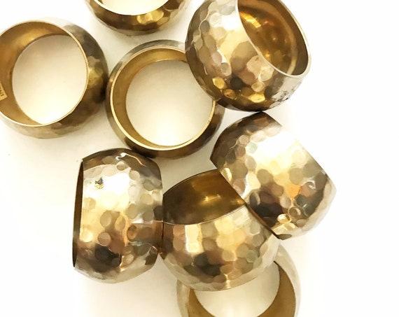 vintage set of glam hollywood regency hammered brass napkin ring holders