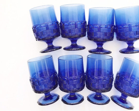 collection of 8 ornate cobalt blue glass champagne wine glass goblets / depression glass set