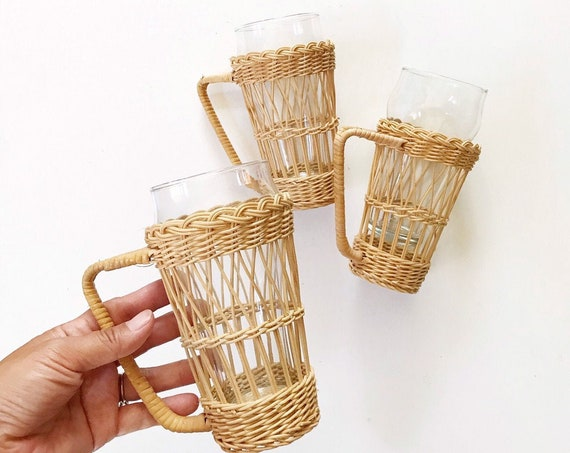 tall vintage woven wicker glass tumbler with insert | listing for 1 mug