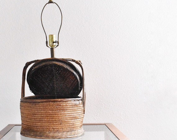 boho mid century modern woven bamboo rattan wicker table lamp / planter