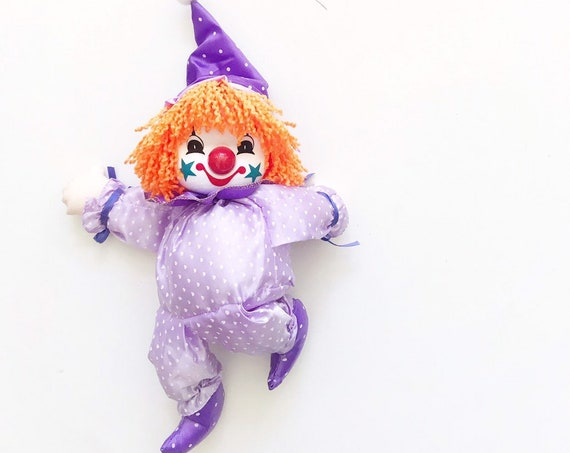 vintage wind up musical clown / moving dancing dolls / purple polkadots hearts