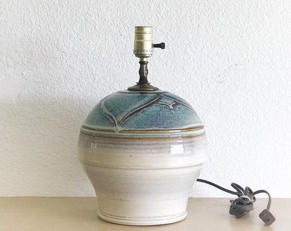 mid century floral patterned white blue glazed studio stoneware pottery table lamp / boho homewarming gift