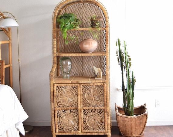 vintage mid century woven rattan wicker wall bookshelf / bamboo shelf cabinet / Please Ask On Shipping