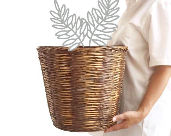 vintage large woven wicker storage basket   planter