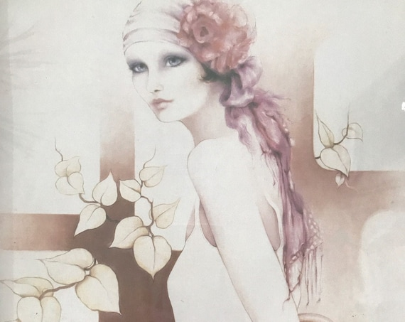 vintage sara moon framed litho print of a lady