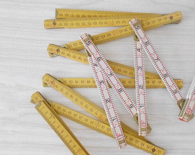 vintage wooden folding carpenter's ruler / measuring tool / meter / 6 feet