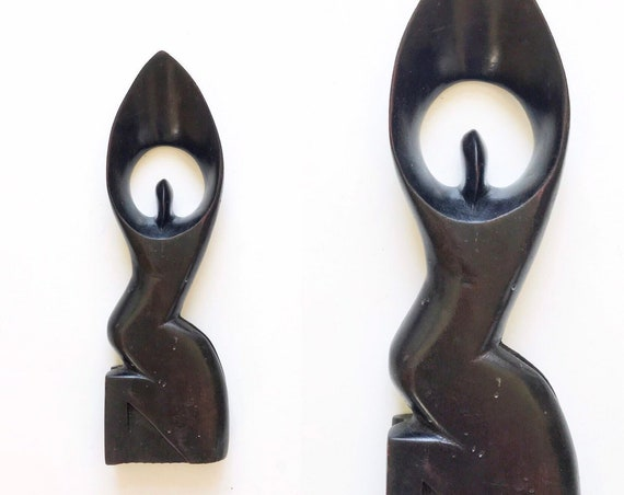 "12"" hand carved nude minimalist man woman wood sculpture bookend / statue figurine"
