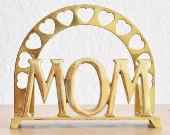 solid brass valentine's day gift for mom office paperweight | heart napkin holder