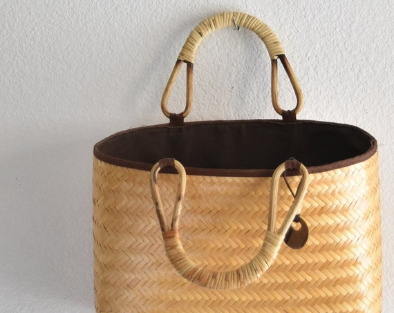 summer woven rattan bamboo hand bag / market bag purse