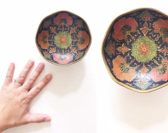 small chinoiserie style solid brass decorative floral etched enamel dish plate bowl | india