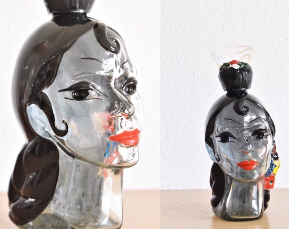 vintage mexican woman doll head glass decanter bottle \ spanish tequila bottle \ gift barware