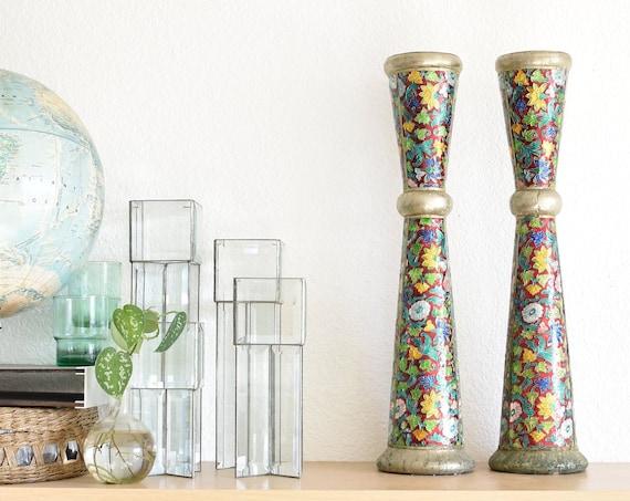 tall christmas cloisonne style enamel baldwin column candleholders | set of 2 pillar candlestick holders