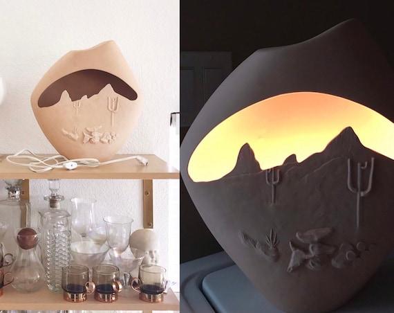 large clay pottery night light | boho desert table lamp
