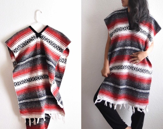 woven red black striped mexican poncho jacket | blanket tent dress