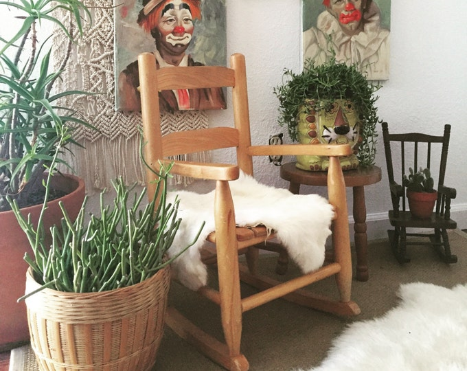 vintage children's wooden rocking chair / baby nursery / kid's bedroom