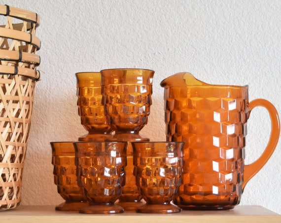 thick amber glass pitcher and glass set / orange summer cocktail barware
